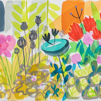 Bird Spa in the Border by Tessa Pearson, watercolour on paper