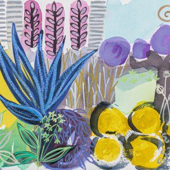 Sapphire Clematis Border by Tessa Pearson, Watercolour