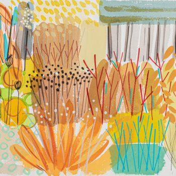 Golden Seedhead Border by Tessa Pearson, watercolour