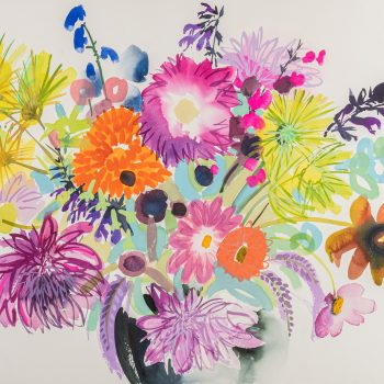 Last Summer Bouquet Turquoise by Tessa Pearson, watercolour